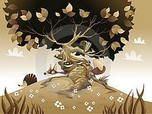 Monochrome Landscape With Animals. Royalty Free Stock Photo - Image: 16384115