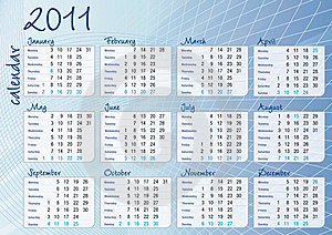Blue Graphic All-months Calendar Royalty Free Stock Image - Image: 16384226