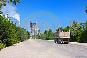 Road To Cement Plant Royalty Free Stock Photo - Image: 16384325