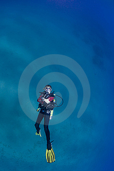 Female Scuba Swimming On Her Back Stock Photo - Image: 16385120
