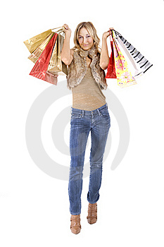 Sexy Blond Woman With Shopping Bags Stock Photos - Image: 16385473