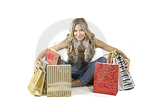 Sexy Blond Woman With Shopping Bags Royalty Free Stock Photography - Image: 16385497