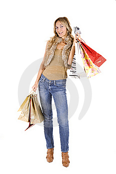 Sexy Blond Woman With Shopping Bags Royalty Free Stock Images - Image: 16385499