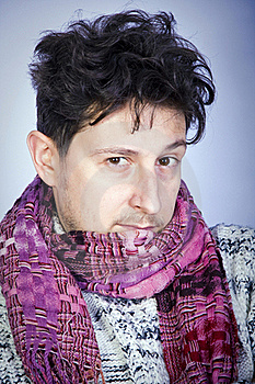 Dishevelled Young Man With Scarf Stock Image - Image: 16385941