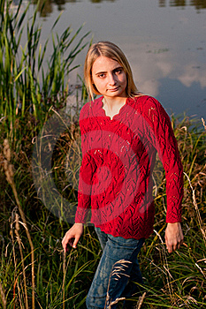 Girl In Red Pullover Royalty Free Stock Image - Image: 16387696