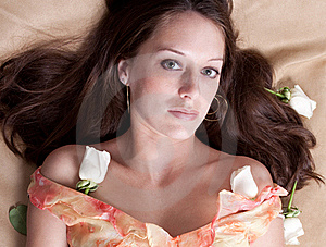 Beautiful Woman With White Roses Royalty Free Stock Image - Image: 16387956