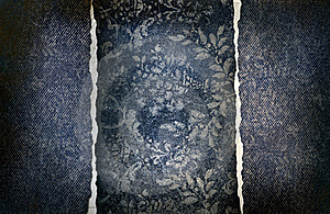 Grungy Denim With Faded Floral Effect Royalty Free Stock Images - Image: 16391299