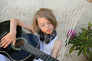 Boy And Guitar Stock Image - Image: 16392191