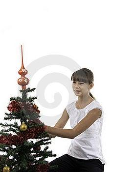 Mädchen Verzieren Einen Baum Des Neuen Jahres Lizenzfreie Stockfotos - Bild: 16392518