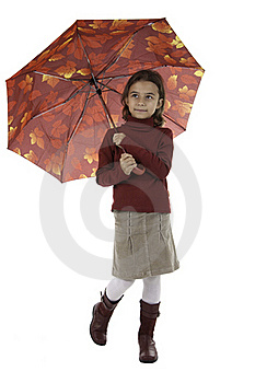 The Girl With An Umbrella Stock Image - Image: 16392681