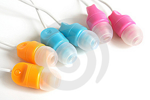 Multicolored Earphones Stock Photo - Image: 16392860