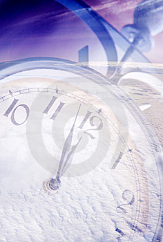 Clock under snow Royalty Free Stock Photography