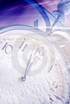 Orologio sotto neve Fotografia Stock Libera da Diritti