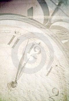 Clock under snow Stock Image