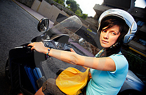 Woman On The Bike Royalty Free Stock Photography - Image: 16396327
