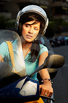 Woman On The Bike Royalty Free Stock Image - Image: 16396356
