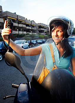 Woman On The Bike Royalty Free Stock Images - Image: 16396409