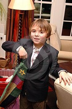 Boy Hanging Christmas Stocking Stock Image - Image: 1649391