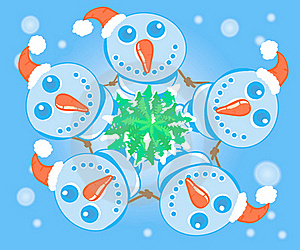 Snowmens Dance In A Circle Around A Christmas Tree Stock Image - Image: 16406251