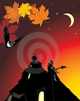 Sitting Witch On The Roof Of Castle. Halloween Stock Photography - Image: 16411282