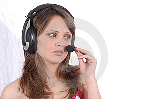 Successful Female Call Centre Employee Speaking Ov Stock Photography - Image: 16418202