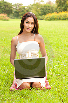 Woman With Laptop Stock Image - Image: 16419431