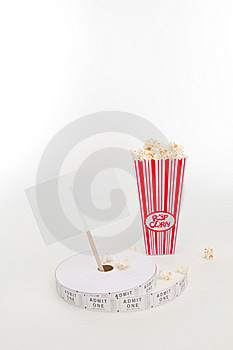 Popcorn, Movie Tickets And A Sign Royalty Free Stock Photos - Image: 16419868