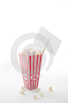Popcorn, Movie Tickets And A Sign Stock Photography - Image: 16419942
