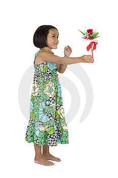 Cute Girl With Flower Gift Royalty Free Stock Images - Image: 16420169