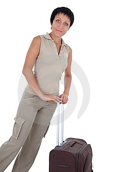 Young Woman Stands With Traveling Suitcase Isolate Royalty Free Stock Image - Image: 16426646