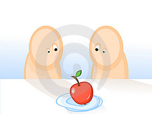 Two-and-apple Royalty Free Stock Images - Image: 16426899