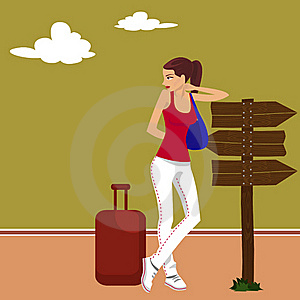 Tourist Girl At Road Stock Photography - Image: 16427672