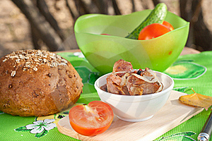 Grilled Meat With Vegetables And Bread Royalty Free Stock Image - Image: 16428176