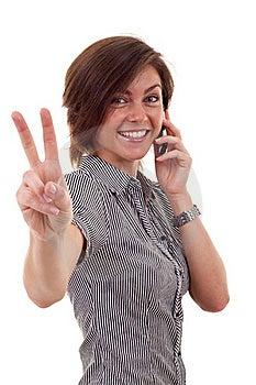 Mujer Con El Teléfono Y El Gesto De La Victoria Imágenes de archivo libres de regalías - Imagen: 16433139