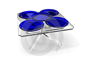 Plates On Glass Table Royalty Free Stock Photography - Image: 16440847