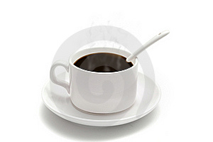 White Coffee Cup With A Spoon On The Saucer Royalty Free Stock Photo - Image: 16441965