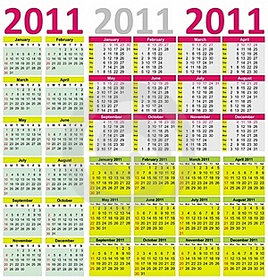 Colorful Calendar For Year 2011 Royalty Free Stock Photos - Image: 16442048