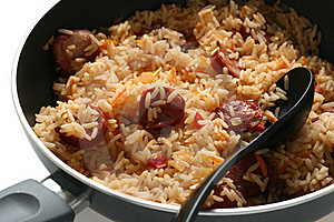 Fried Rice With Sausages Stock Image - Image: 16450901