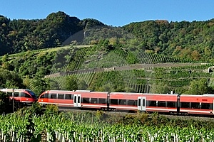 Red Train Green Landscape In Fall Stock Image - Image: 16459131