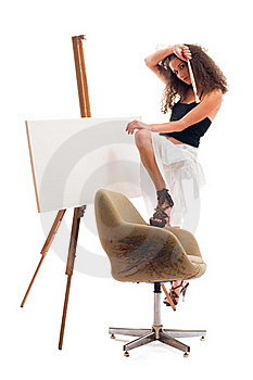 Donna Del Pittore Fotografia Stock - Immagine: 16459362