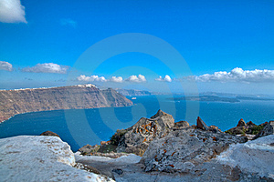 Rocky View On The Sea And A Village Royalty Free Stock Photos - Image: 16459438