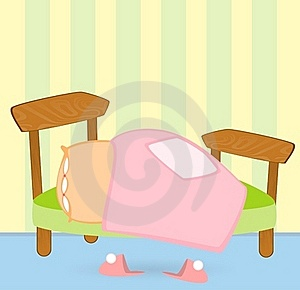 Bed With A Blanket And Pillow, Pink Slippers Stock Photo - Image: 16460460