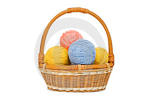 Ball Of Threads In A Basket Stock Image - Image: 16465351