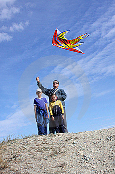 Father With Children And With A Kite Stock Photos - Image: 16465903