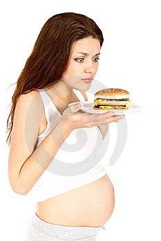 Pregnant Eats Sandwich Royalty Free Stock Image - Image: 16468006
