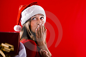 Santa Girl Sending Kiss Royalty Free Stock Photo - Image: 16471455