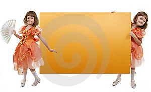 Two Girls Twins Hold Banner Stock Photography - Image: 16472112