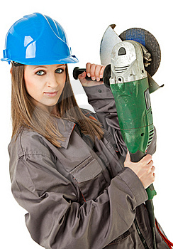 Female Worker Grinder Royalty Free Stock Images - Image: 16473239