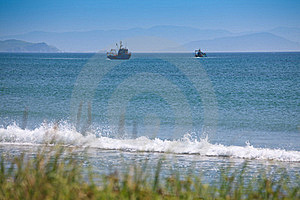 Two Fishing Vessels Fishing In The Gulf Stock Photo - Image: 16479360