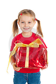 Pretty Girl Wih The Gift Royalty Free Stock Photos - Image: 16479488